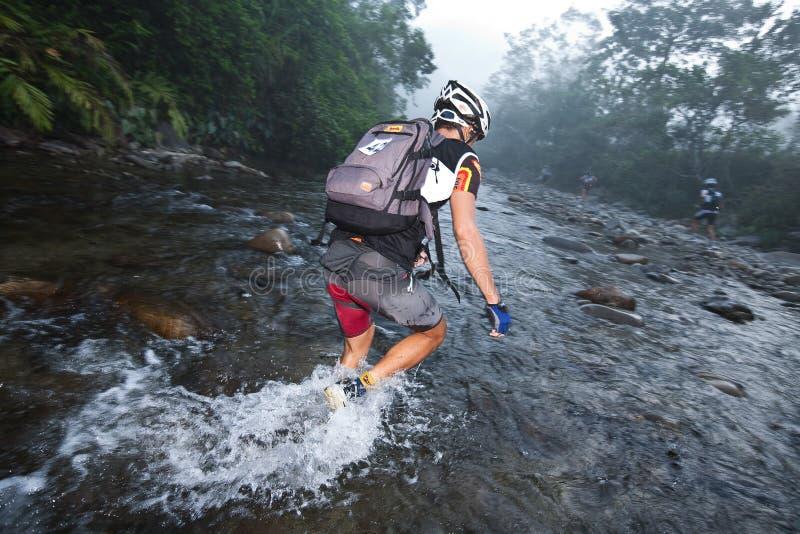 Racermakes sua maneira através de um rio na manhã fotografia de stock