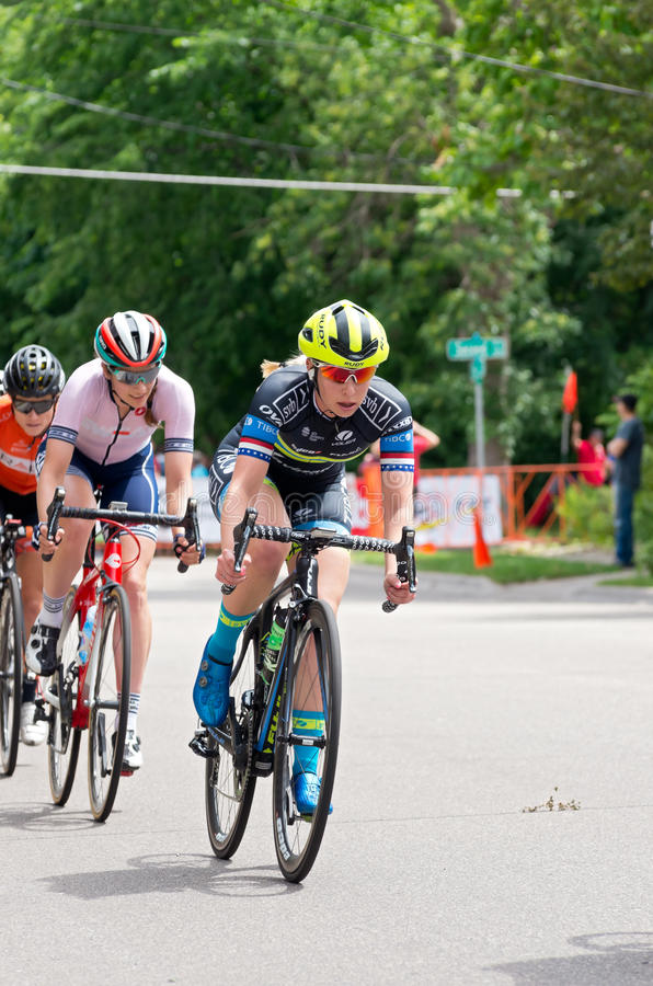 Racers on Course at Stillwater Criterium. Stillwater, Minnesota, USA - JUNE 18, 2017: Pro women cyclists on course at the 2017 North Star Grand Prix Stillwater royalty free stock photo