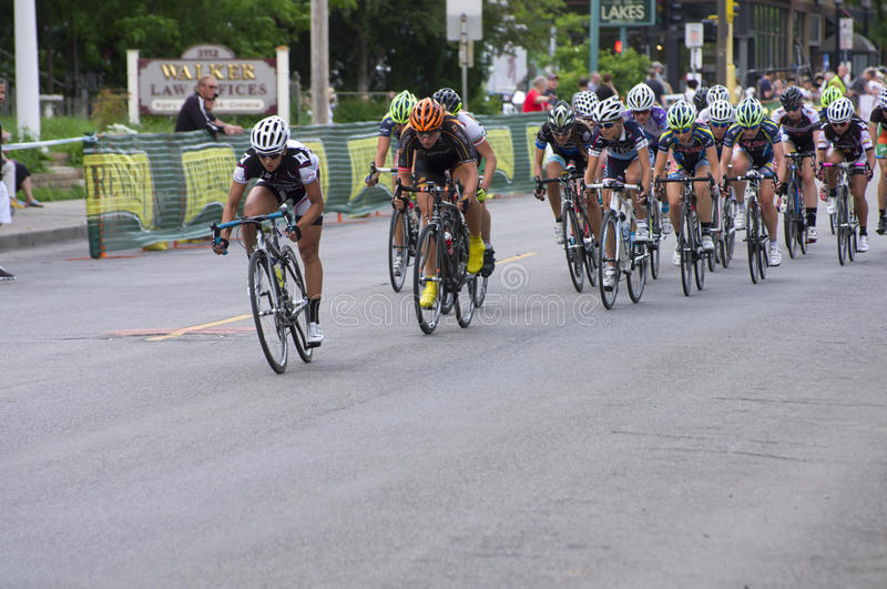 Racers Lead Pack at Uptown Criterium royalty free stock image