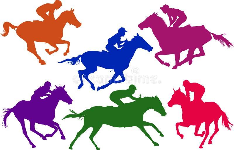 Races. Six different horse race silhouettes