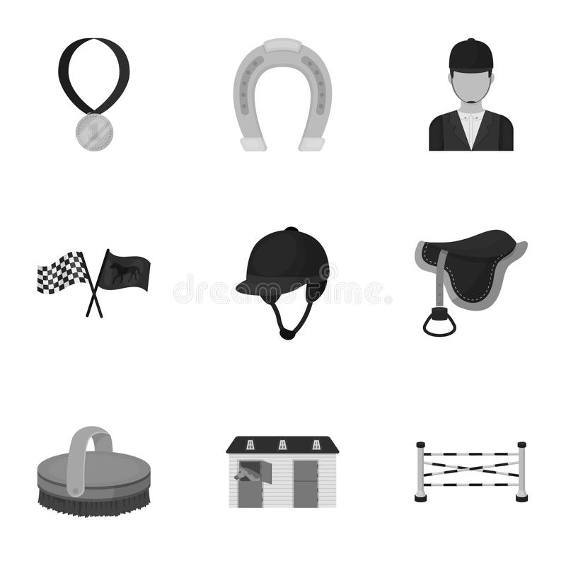Races on horseback, hippodrome. Horse racing and equipping riders.Hippodrome and horse icon in set collection on. Monochrome style vector symbol stock web vector illustration