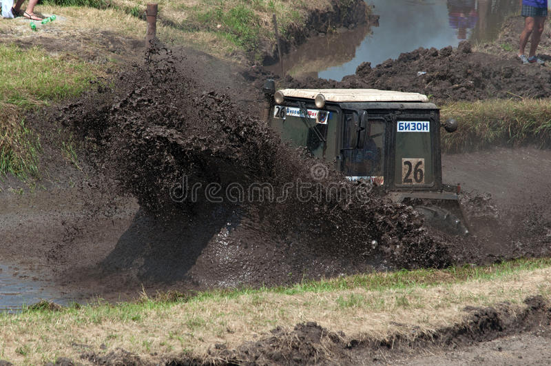 Races on the rough terrain. Races on rough terrain, take place annually at the former testing ground `Don-25`, Rostov-on-Don, Russia, At different times, cars royalty free stock photo