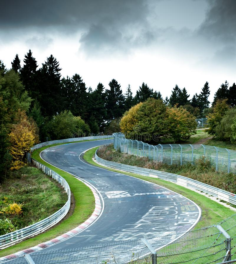 Racetrack. Nürburgring Nordschleife Racetrack in Germany stock photo