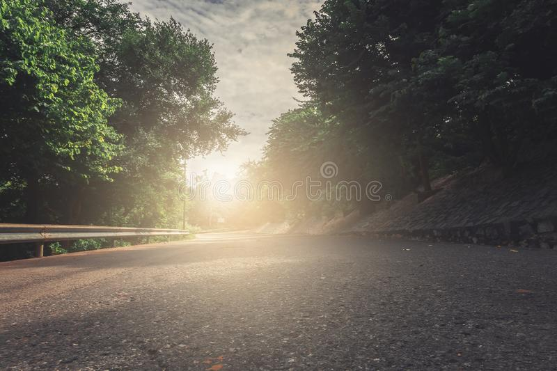 Racetrack on street highway with car motion blurred on track traffic in city capital. For automotive automobile or transport stock photography