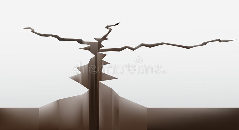 Rachadura na terra ilustração stock