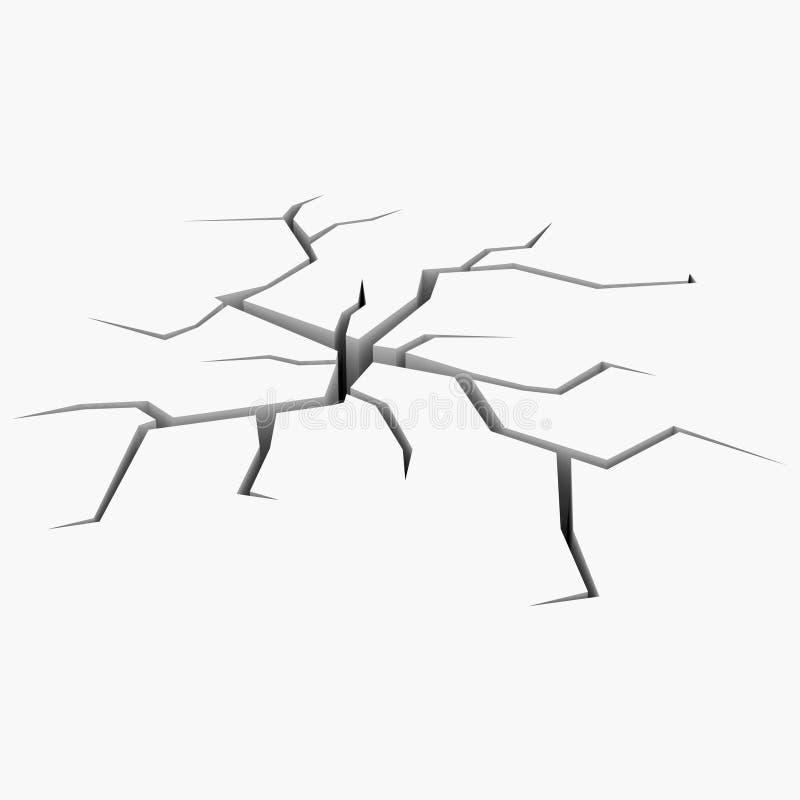 A rachadura no plano branco ilustração stock