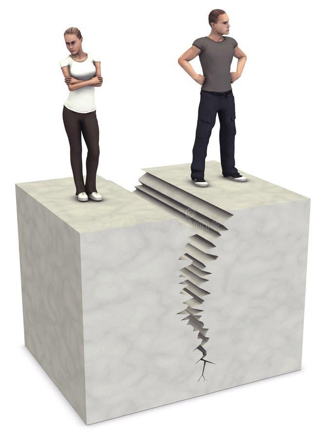 A rachadura rachada do divórcio dos pares da mulher 3D do homem quebra acima ilustração royalty free