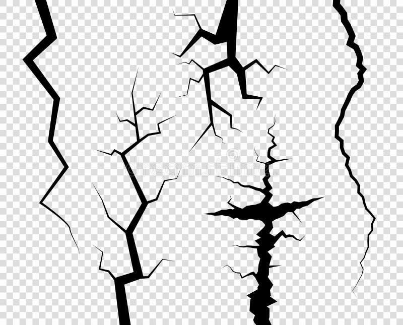 rachaduras A destruição, o abismo Apenas cor em mudança Elemento decorativo do vetor no fundo transparente isolado ilustração do vetor
