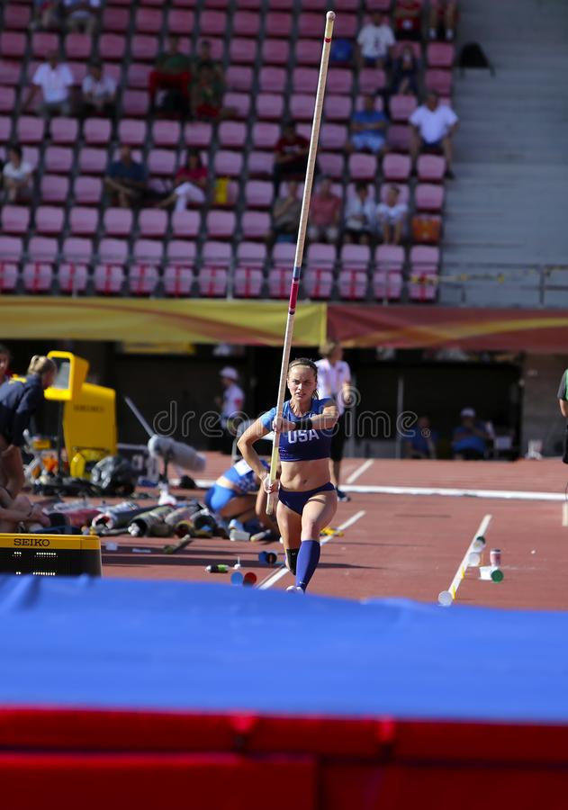 RACHEL BAXTER USA auf dem Stabhochsprungsereignis in der Meisterschaft Tampere, Finnland IAAF-Weltu20 am 10. Juli 2018 stockbilder