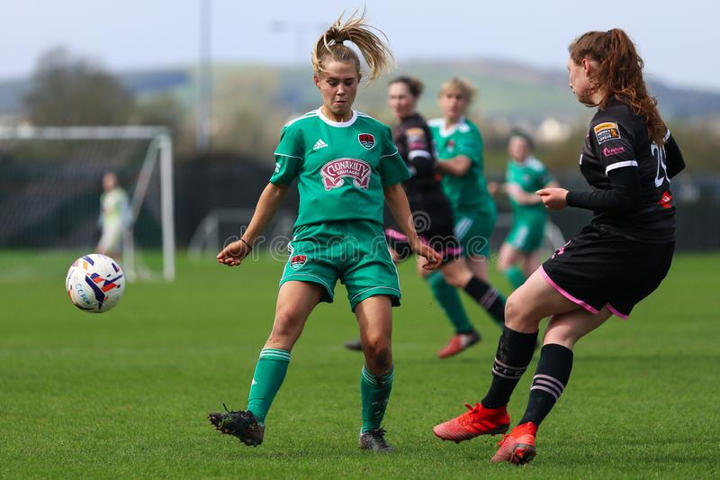 Rachel O Regan pendant le match de ligue national des femmes entre les femmes de Cork City FC et le Wexford Youths photos stock