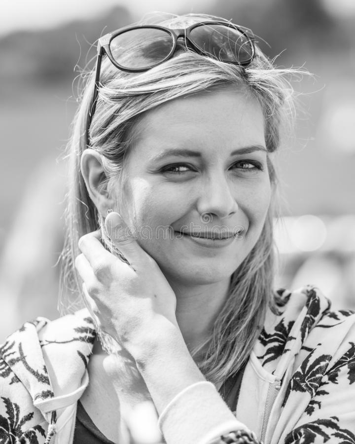 Rachel Riley judging a dog show on Hamstead heath in a London stock photography