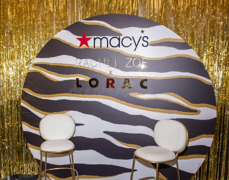Rachel Zoe at Macy`s Herald Square. New York, NY, USA - December 3, 2019:  Set up for Rachel Zoe launch of her new beauty collection with LORAC at Macy`s Herald stock photography