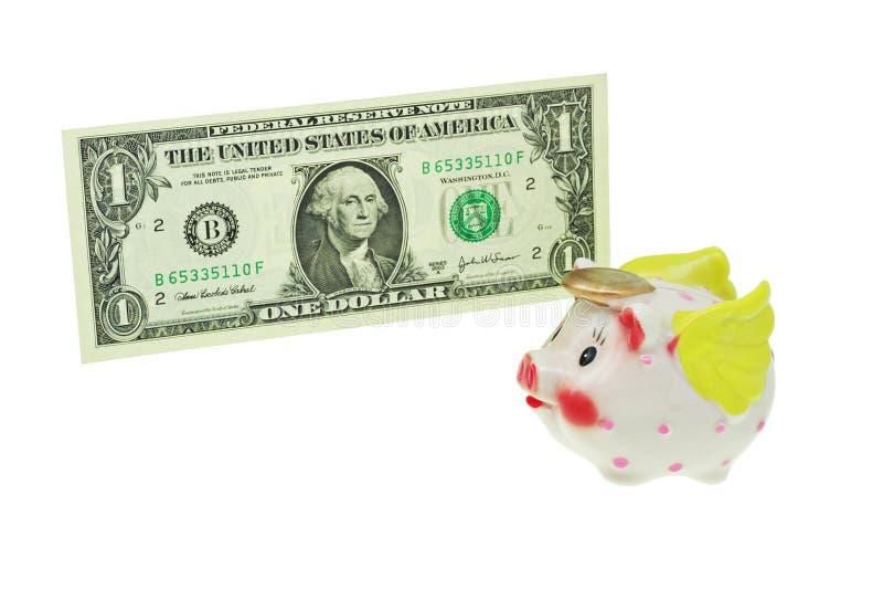 rachunek banku dolar latający przechodzącego Świnka. zdjęcia royalty free