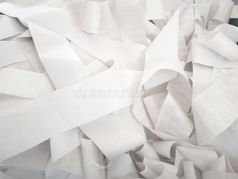 rachunek papier na górze each inny zdjęcie stock