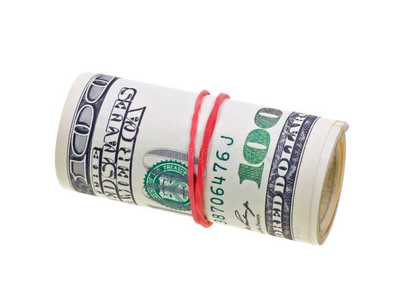 rachunków dolary odizolowywający pieniądze stacza się my biały obraz royalty free