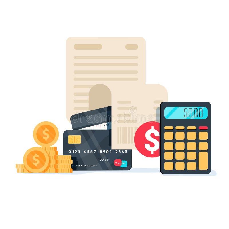 Rachunki, kredytowe karty i kalkulator: ogłoszenie towarzyskie domu finanse, podatki i zapłaty pojęcie, ilustracji