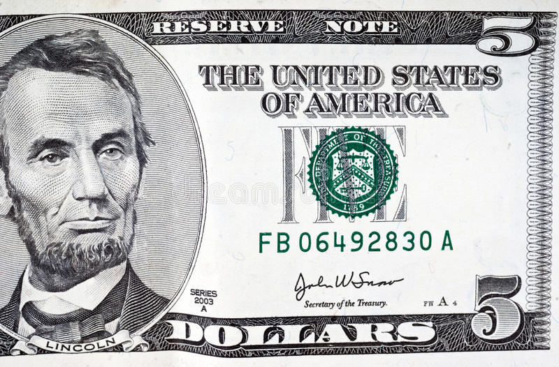 rachunku dolar pięć fotografia royalty free