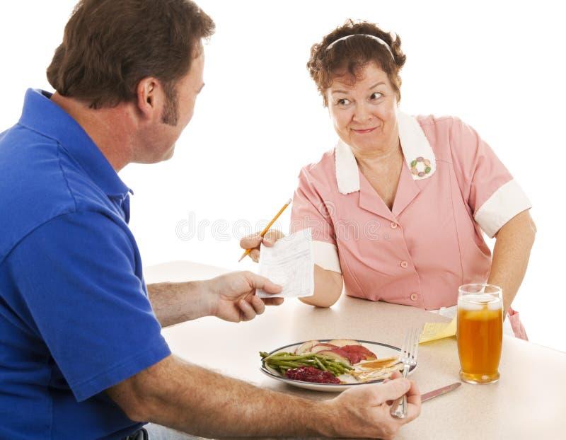 rachunku klient wręcza kelnerki obraz stock