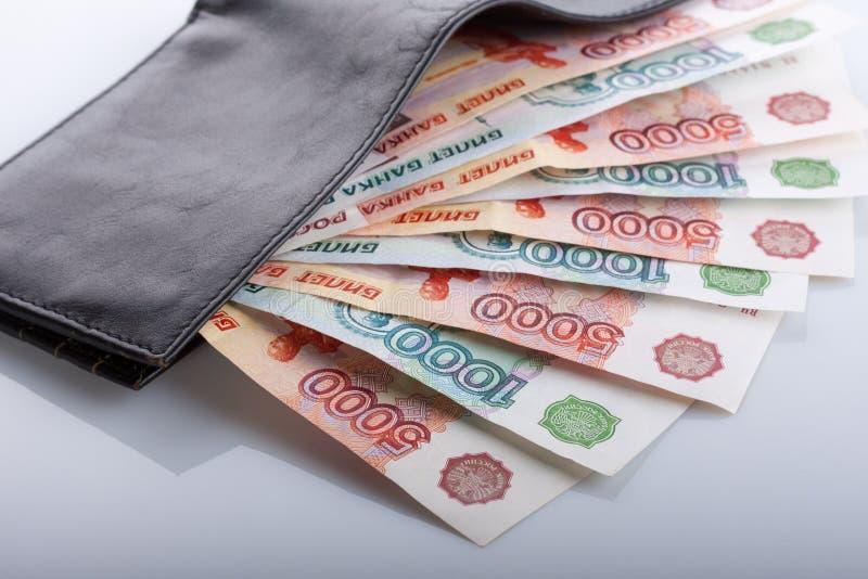 rachunku portfel czarny rzemienny rublowy rosyjski obraz stock