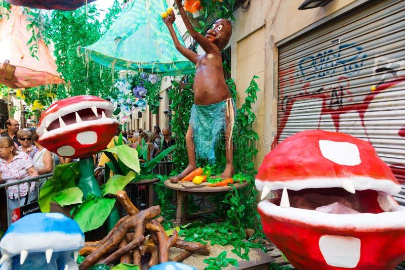 Racia festivalgarneringar i Barcelona royaltyfri fotografi