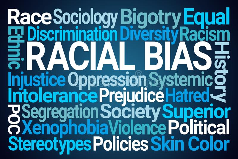 Racial Bias Word Cloud. On Blue Background royalty free illustration