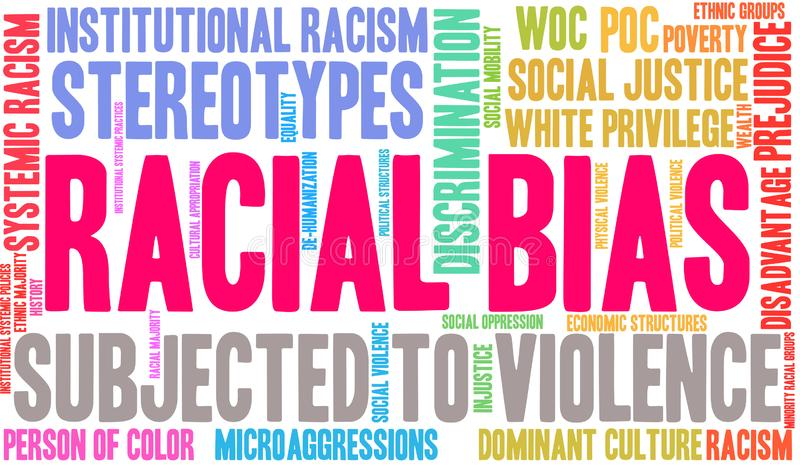 Racial Bias Word Cloud. On a white background royalty free illustration