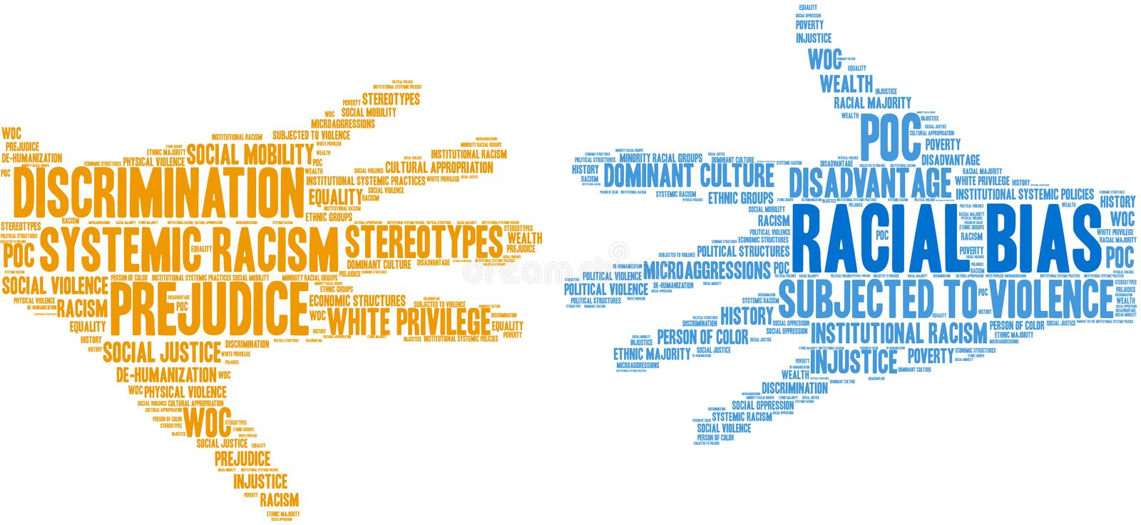 Racial Bias Word Cloud. On a white background vector illustration