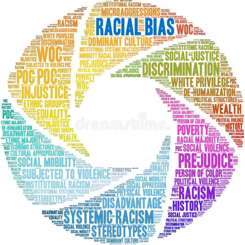 Racial Bias Word Cloud. On a white background stock illustration