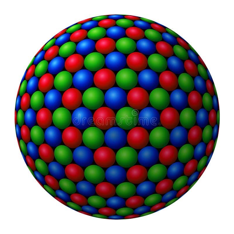 Racimo de esferas coloreadas que forman más grande ilustración del vector