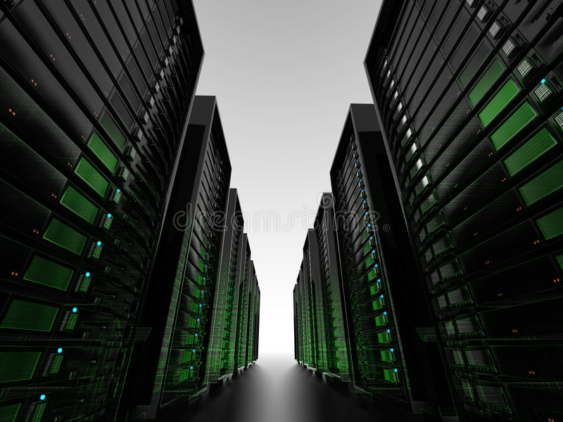Racimos de servidor con el wireframe stock de ilustración