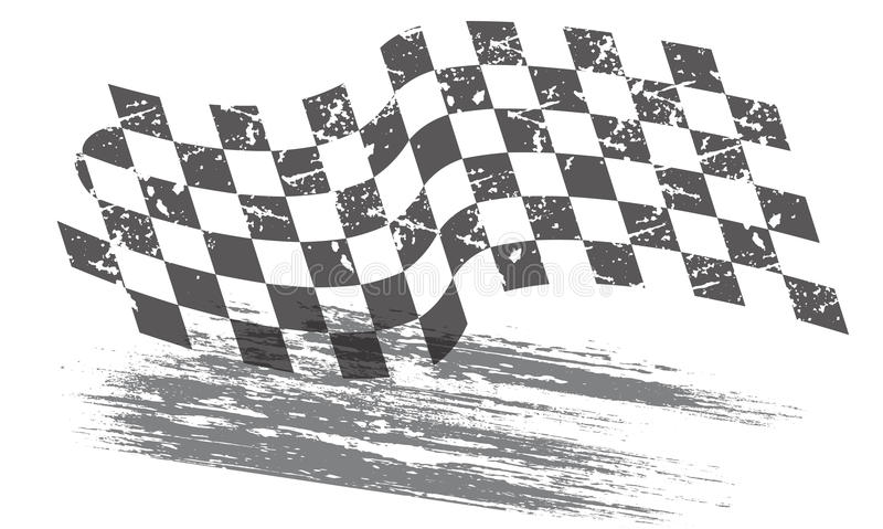 Racing background. With distressed checkered flag and ground