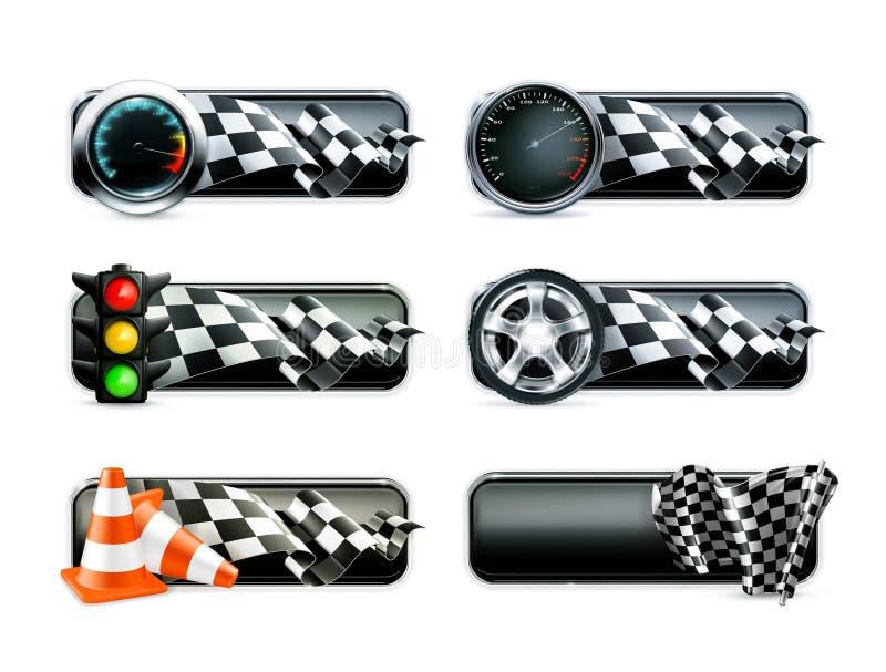 Racing banners set stock illustration