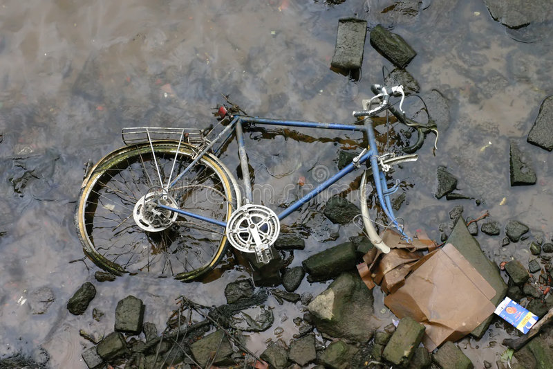 Racing Bike in River stock photos