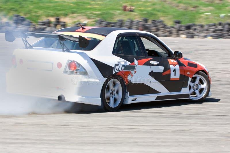 Racing car. During the race stock photo