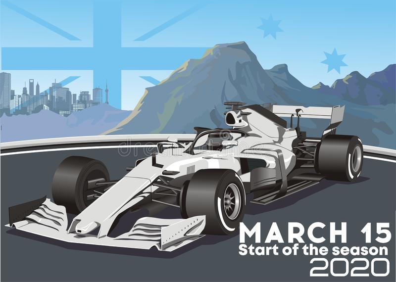 Racing car on the background of the Australian mountains and the metropolis stock images