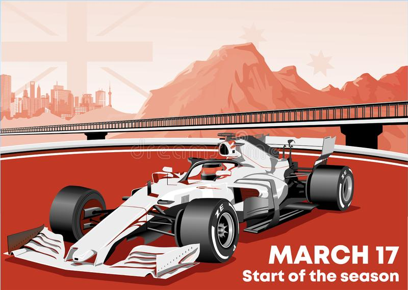 Racing car in black and white and red performance. royalty free illustration