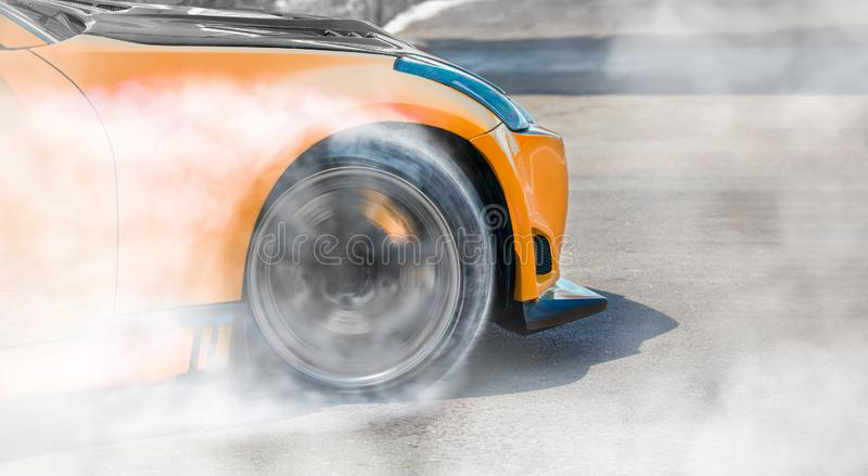 Racing car drift  on race track. Close up Racing car drift  on race track royalty free stock images
