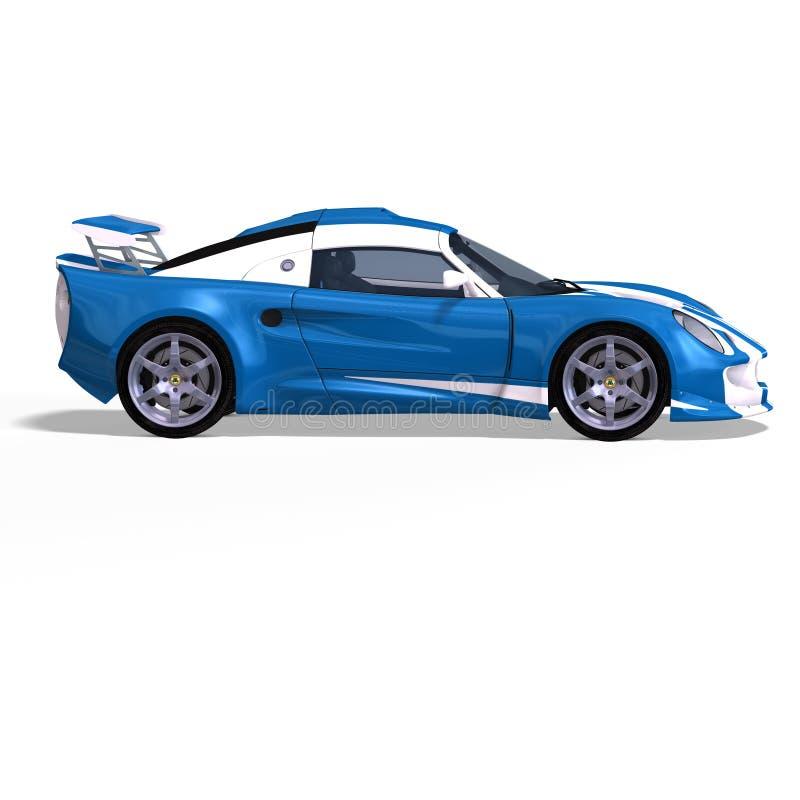 Racing car fantasy blue white stock illustration