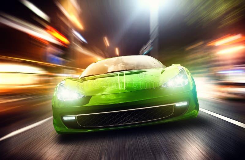 Racing car. Green racing car on the street royalty free stock photos
