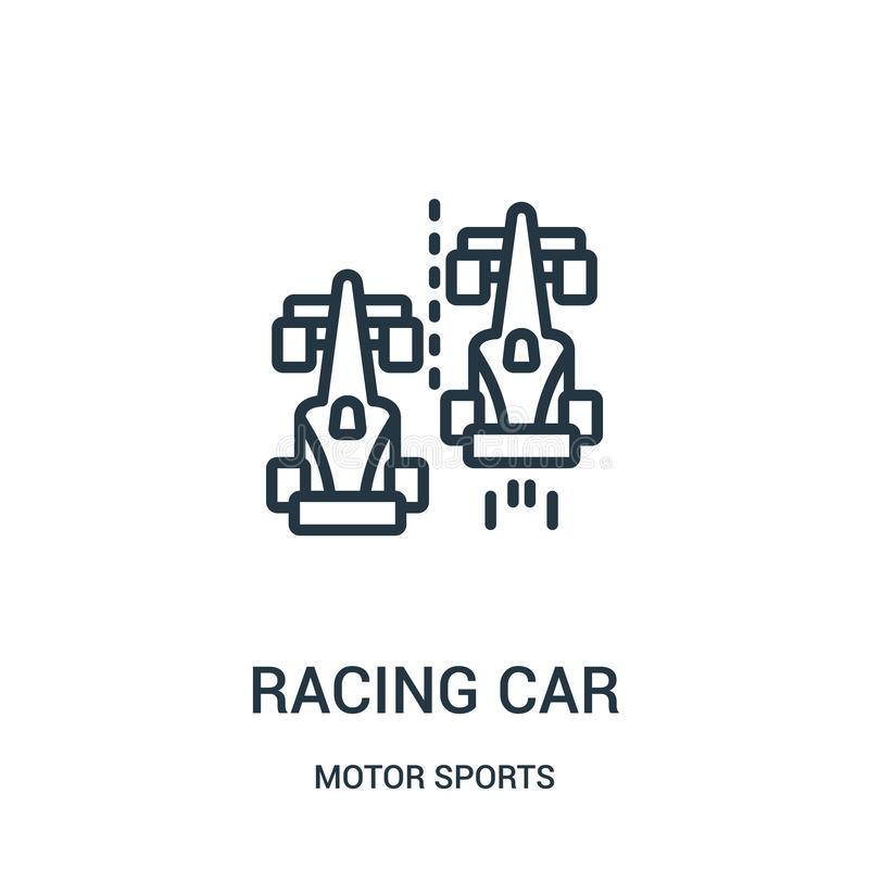 racing car icon vector from motor sports collection. Thin line racing car outline icon vector illustration. Linear symbol stock illustration