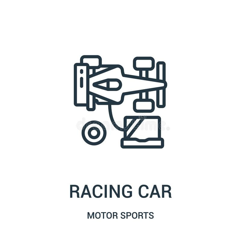 racing car icon vector from motor sports collection. Thin line racing car outline icon vector illustration. Linear symbol vector illustration
