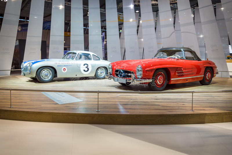Racing car Mercedes-Benz 300 SL (W194) and the sports car Mercedes-Benz 300 SL Roadster (W198). STUTTGART, GERMANY - MARCH 17, 2016: Racing car Mercedes-Benz stock photo