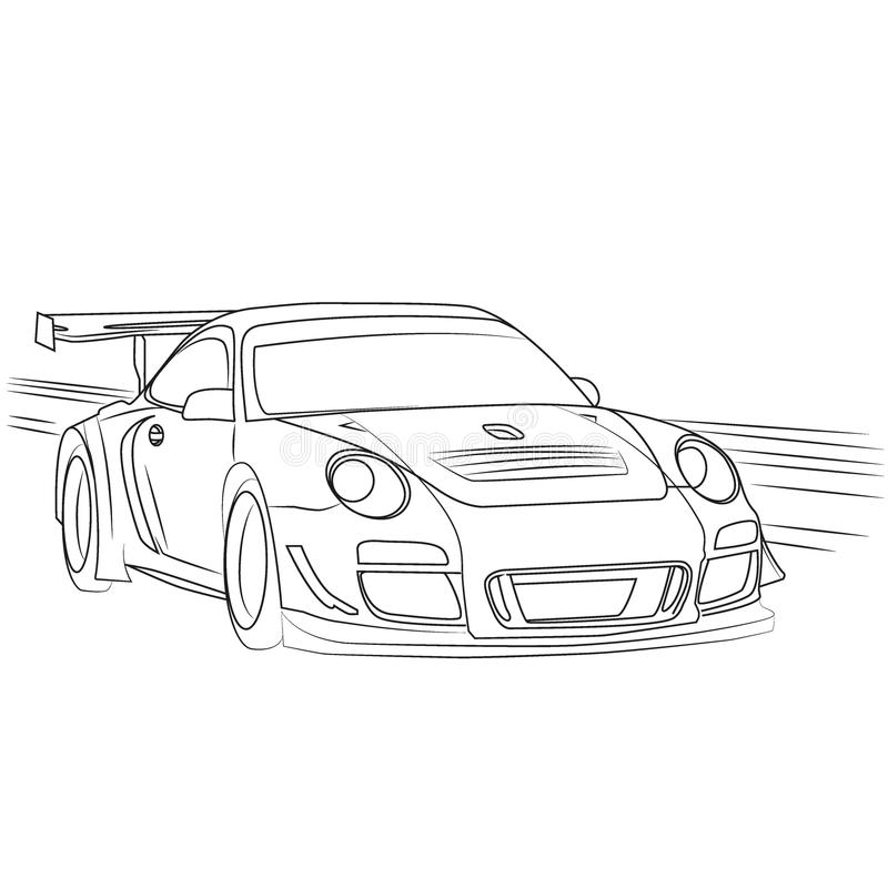 Racing car on the move drawn contour vector illustration