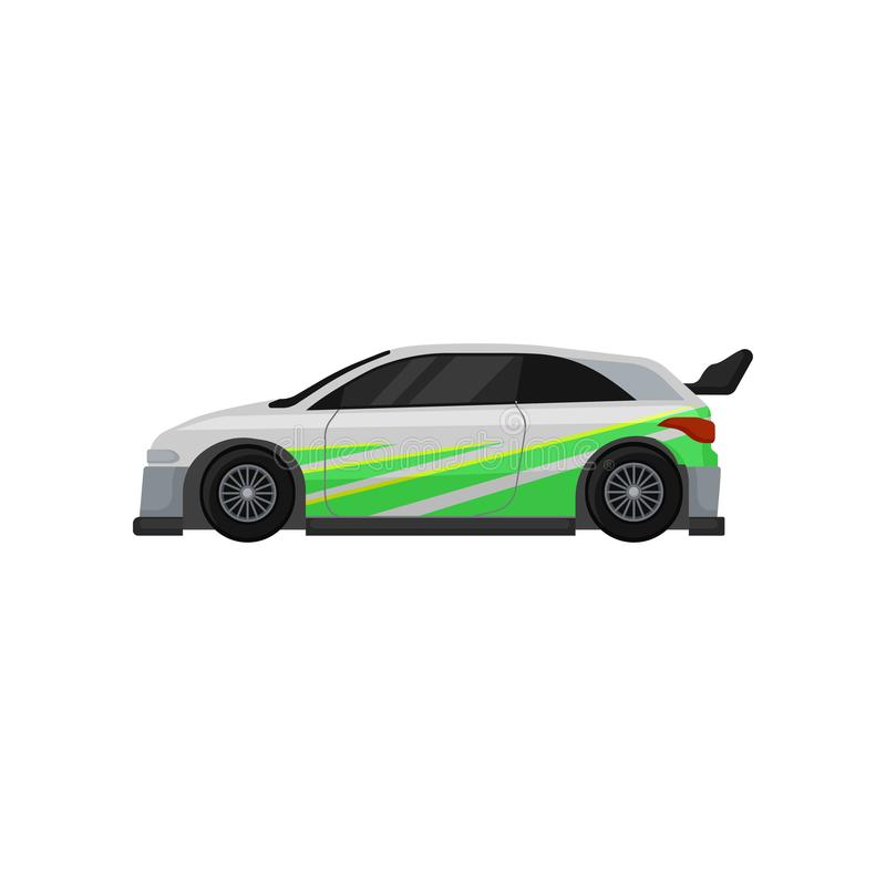 Racing car with tinted windows, spoiler and green stickers. Autosport theme. Flat vector for mobile game or promo poster stock illustration