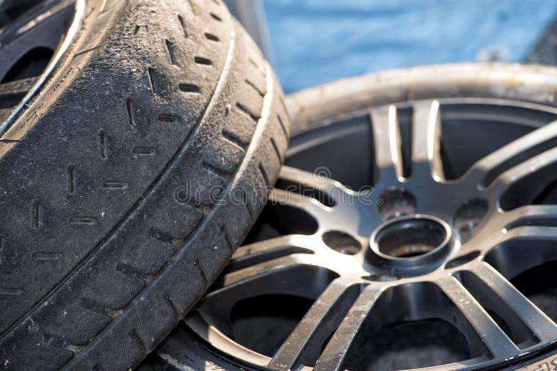 Racing car tire close up. Rally Racing car tire close up stock image