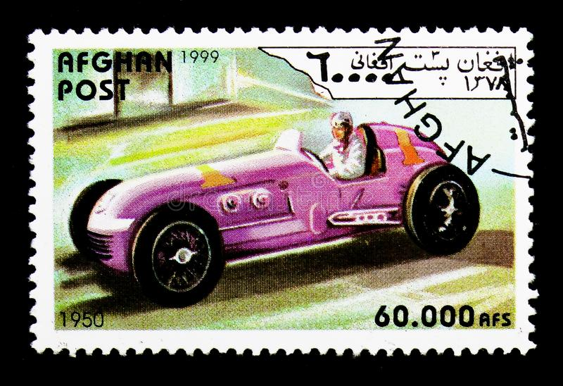 Racing car from 1950, Vintage race cars serie, circa 1999. MOSCOW, RUSSIA - DECEMBER 21, 2017: A stamp printed in Afghanistan shows Racing car from 1950, Vintage stock photos