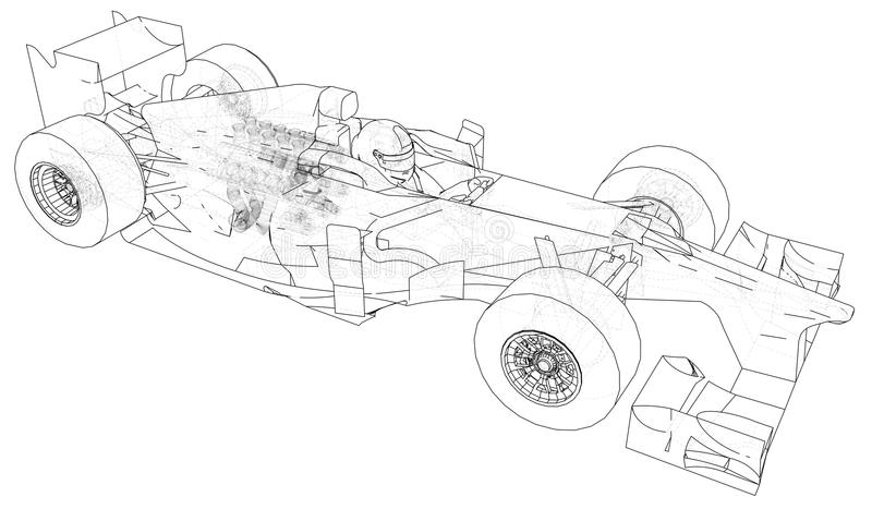 Racing Car. Wire-frame. EPS10 Format. Vector Rendering Of 3d. Stock ...