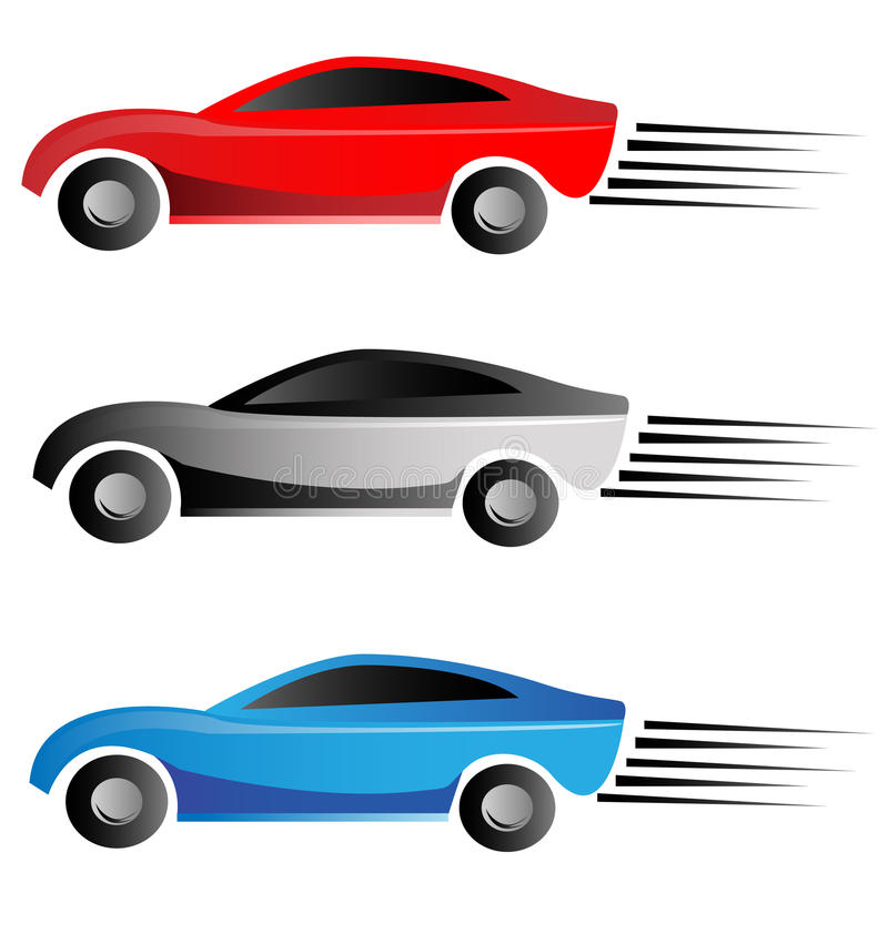 Racing cars logo. Racing cars colorful creative logo royalty free illustration
