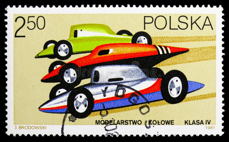 Racing cars, Models serie, circa 1981. MOSCOW, RUSSIA - SEPTEMBER 15, 2018: A stamp printed in Poland shows Racing cars, Models serie, circa 1981 royalty free stock photography