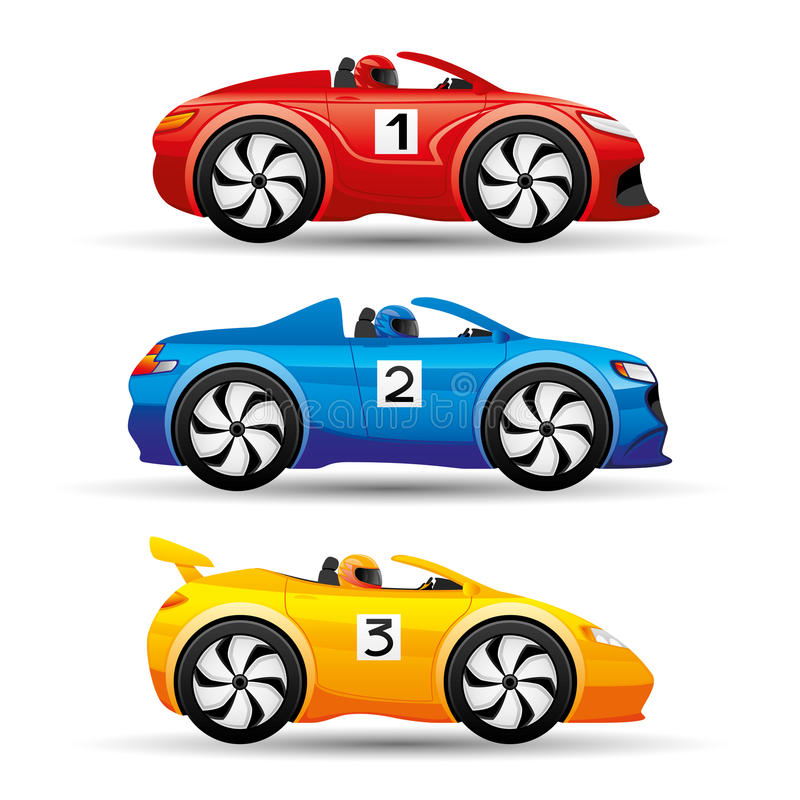 Racing cars on a white background. vector illustration